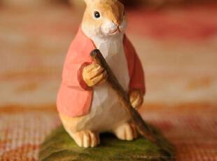 水生之城欧美儿童玩具手工雕刻做旧实木椴木叉草兔02265,创意礼品,