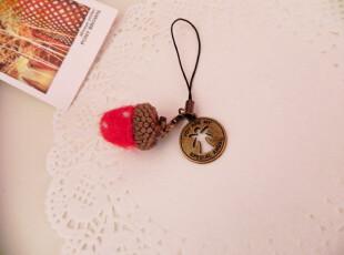 原创 手工 羊毛毡 戳戳乐 草莓挂件 橡果 材料包 手机链diy,创意礼品,