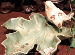 波尔得欧美复古创意小鸟树叶烟灰缸,创意礼品,