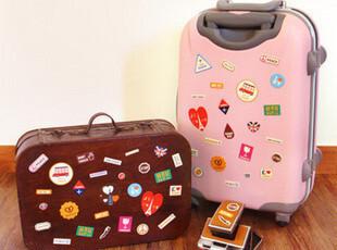 【满39包邮】潮牌皮革 旅行 拉杆箱sticker 欧洲 皮质旅行箱贴纸,创意礼品,