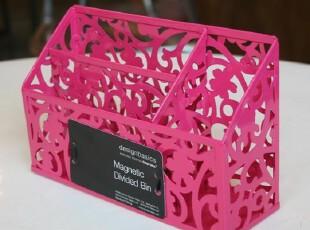【北欧同步 淘宝独家发布】铁艺镂花磁性收纳盒/笔筒/冰箱贴玫红,创意礼品,