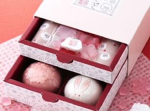 【兔兔好萌物】日本进口樱花雪兔洗颜皂手帕礼盒(大),创意礼品,