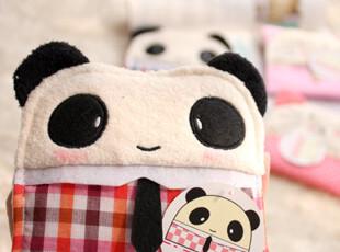 特 手工品 可爱布艺 领带熊猫&木扣猫咪 卫生棉包|卫生巾包,创意礼品,