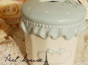 出口欧洲pink波点手绘陶瓷储蓄罐 存钱罐 家居饰品 创意礼品 摆件,创意礼品,