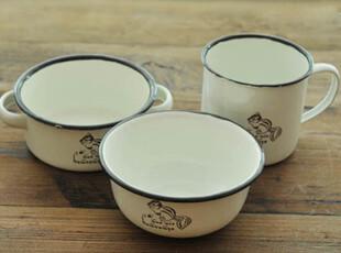 复古 做旧 搪瓷杯碗碟三件套(小松鼠) zakka 杂货 三款可选,创意礼品,