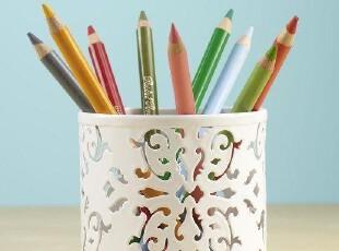 【铁艺剪纸风】出口北欧铁艺蕾丝花纹笔筒/收纳桶/整理/铅笔盒-白,创意礼品,