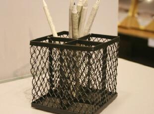 Fers淘宝独家工业网格四分隔笔筒 收纳桶 文具 办公用品 刀叉筒黑,创意礼品,