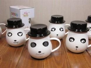 七夕创意情侣礼品 生日礼物 咖啡杯 陶瓷杯子 新颖熊猫帽子表情杯,创意礼品,