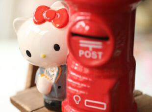 日单纪念版 陶瓷制 HELLO KITTY邮差和邮筒 储蓄罐 0.35kg,创意礼品,