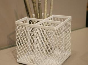 Fers淘宝独家工业网格四分隔笔筒 收纳桶 文具 办公用品 刀叉筒白,创意礼品,