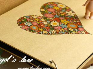 C大调♥韩国diy手工粘贴式相册 桃心牛皮黑页自粘式相簿 创意影集,创意礼品,