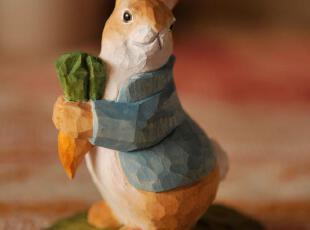 萌萌兔外贸出口原单情趣礼物田园手工实木雕刻做旧/欢喜兔02269,创意礼品,