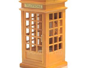 正品 韵升音乐盒 电话亭音乐盒 木质音乐盒 18音天空之城,创意礼品,