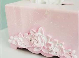 『韩国网站代购』精致玫瑰粉色树脂纸巾盒,创意礼品,