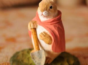 萌萌兔公仔外贸出口原单情趣礼物田园手工实木雕刻/铲土兔02267,创意礼品,