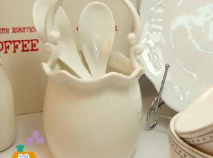 筷子筒 陶瓷 欧式花边手提筷子筒/花筒 出口原单,创意礼品,