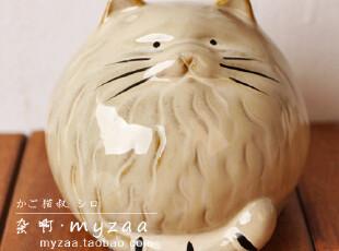 zaa杂啊 可爱篮子淡定猫叔储蓄罐 zakka日系陶瓷存钱罐 家居摆设,创意礼品,
