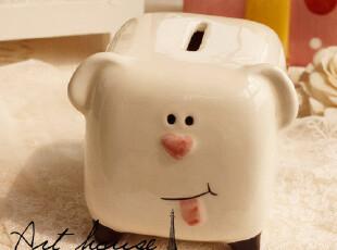 出口欧洲白色小猪陶瓷存钱罐 储蓄罐 家居饰品 创意礼品 摆件,创意礼品,