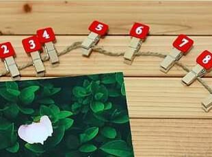 数字夹 便笺 照片 夹 zakka日单 数字0-9木制夹子(附麻绳),创意礼品,