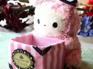 日单San-X爱忧伤马戏团 手机座 毛绒置物盒 创意杂物盒笔筒,创意礼品,