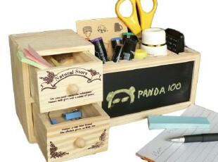 熊猫百货 白松木黑板带抽屉DIY笔筒 桌面收纳简洁创意,创意礼品,