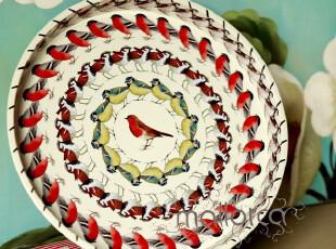 【马洛卡】英伦风情 铁皮小鸟连环面包托盘/水果盘/零食盘 果盘,创意礼品,