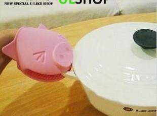 满额包邮 防滑隔热手套耐热矽胶防烫手~可爱小猪隔热手套,创意礼品,