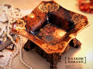 7折 巴赫D大调 欧式复古树脂裂纹陶瓷烟灰缸 家居饰品 新房摆件,创意礼品,