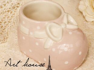 出口欧美可爱波点粉色陶瓷收纳盒 迷你小花插  小烟缸 家居装饰,创意礼品,