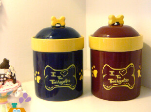 美丽说推荐 外贸原单陶瓷储物罐/宠物粮食罐/储粮桶 (2色,创意礼品,