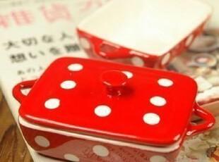热销 推荐zakka陶瓷肥皂盒 可爱红色波点糖盒,创意礼品,
