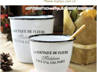简简单单才是真~日式杂货复古搪瓷花盆/花器 2款选 0.07~0.15kg,创意礼品,