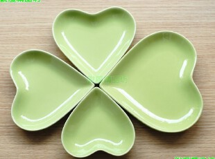 日式餐具绿色幸运四叶草碟心形碟可放置小菜/坚果/糖果/零食,创意礼品,