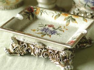 【欧洲订单】欧式手绘陶瓷 工艺品 装饰品 青风影月方形烟灰缸,创意礼品,