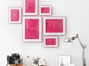『韩国进口家居』A527 公主的照片墙*粉色相框6P套装,创意礼品,