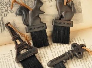 zakka杂货 复古刷子 铁塔 钥匙 松鼠 猫 古董小刷子 毛刷 键盘刷,创意礼品,