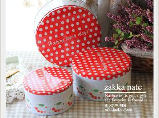 zakka 铁皮三件套曲奇罐 糖果罐 礼品盒 收纳罐 波点樱桃铁皮罐,创意礼品,