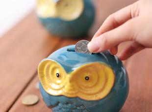 zaa杂啊 zakka日系猫头鹰陶瓷存钱罐 储蓄罐家居装饰摆设 礼品,创意礼品,