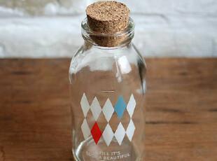 FEN ZAKKA 杂货 U-pick 木塞玻璃瓶(菱格),创意礼品,