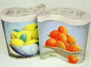 外贸铁盒 RECIPE 果味秘方 油画质感铁罐 储物盒 套装 0109,创意礼品,