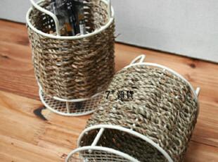 zakka日式杂货 笔筒 个性纯草编 桌面杂物收纳桶 外贸余单 收纳桶,创意礼品,