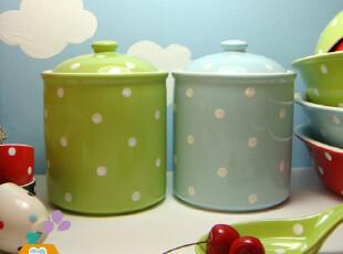 美丽说推荐波点水玉系列 外贸陶瓷储物罐/零食罐/糖罐(2色,创意礼品,