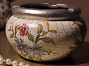 【美克美家欧式】古典复古乡村/创意手绘安妮卡陶瓷烟灰缸-小圆筒,创意礼品,