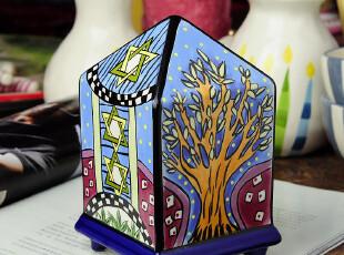 卢克索风格尖方塔造型彩绘存钱罐储蓄罐,创意礼品,
