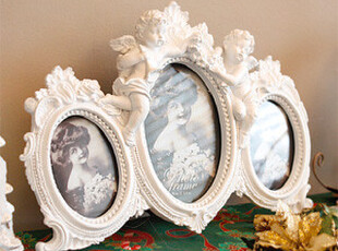 『韩国进口家居』n1338  天使宝宝造型树脂三联相框/相架,创意礼品,