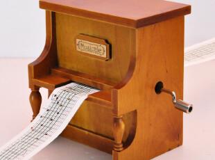 复古仿真立式木质钢琴音乐盒八音盒生日礼物创意女七夕礼物送男友,创意礼品,