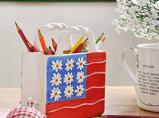 美国花旗手提包 陶瓷 笔筒 纸巾筒 外贸,创意礼品,