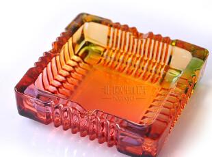 七彩仿琉璃 欧式水晶玻璃时尚创意烟灰缸烟缸-大小号2款选,创意礼品,