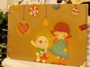 韩国文具 女孩和小熊 可爱小清新金属包角DIY粘贴式相册相簿 650G,创意礼品,