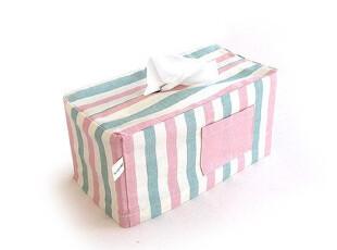 『韩国进口家居』mc-0496 精致布艺彩条纸巾套,创意礼品,